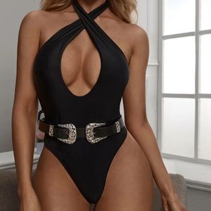 Tie back halter belted one piece black swimsuit